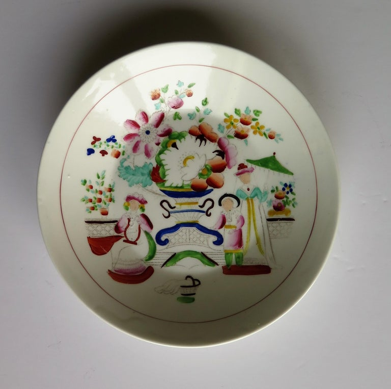 Chinoiserie Early 19th Century Plate by Hilditch & Son Staffordshire Oriental Musicians For Sale