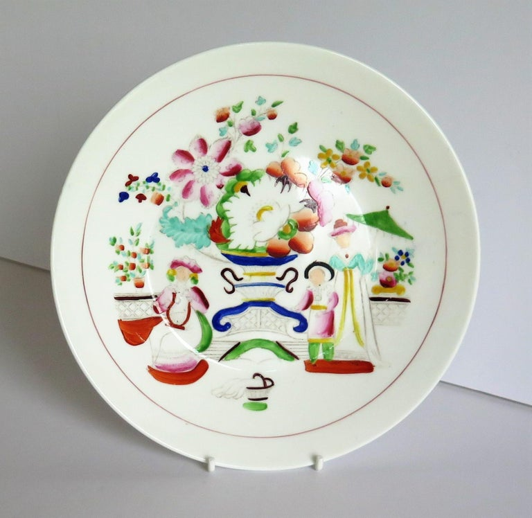British Early 19th Century Plate by Hilditch & Son Staffordshire Oriental Musicians For Sale