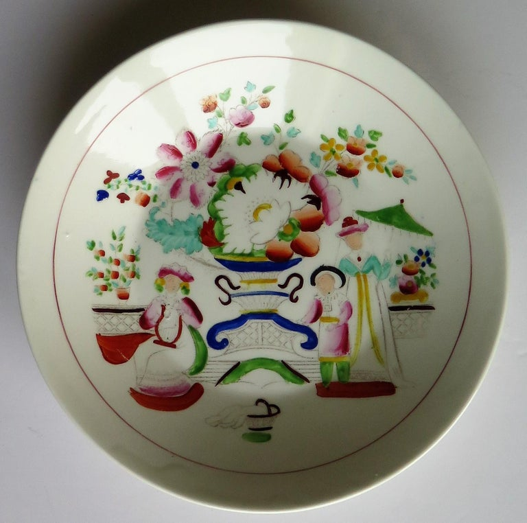 Hand-Painted Early 19th Century Plate by Hilditch & Son Staffordshire Oriental Musicians For Sale