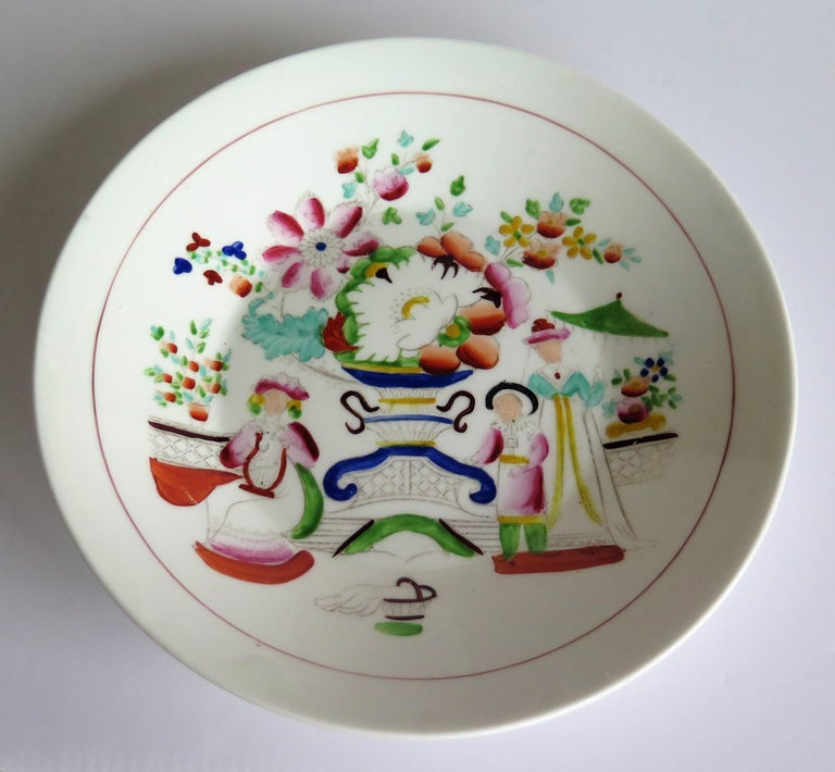 Early 19th Century Plate by Hilditch & Son Staffordshire Oriental Musicians In Good Condition For Sale In Lincoln, Lincolnshire