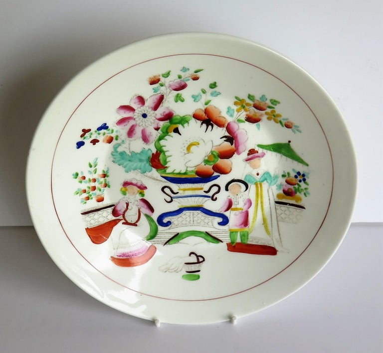 Porcelain Early 19th Century Plate by Hilditch & Son Staffordshire Oriental Musicians For Sale