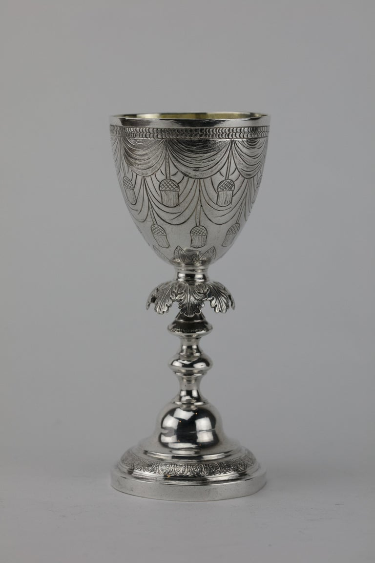 Cast Early 19th Century Polish Silver Kiddus Goblet For Sale
