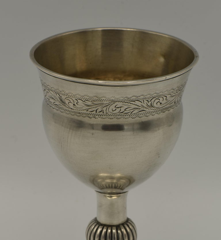Engraved Early 19th Century Polish Silver Kiddush Goblet For Sale