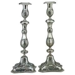 Early 19th Century Polish Silver Shabbat Candlesticks