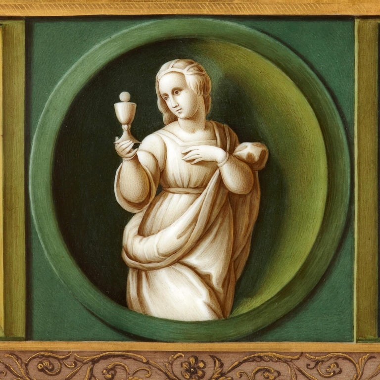 This fine porcelain plaque is decorated after part of a famous work by the Italian Renaissance artist Raphael (1483-1520). The original work, an alterpiece known as the 'Pala Baglioni', was commissioned by Florentine noblewoman Atalanta