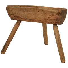Early 19th Century Primitive Country Splayed Leg Cobbler Stool in Cherry Wood