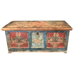 Early 19th Century Rare and Vibrant Hand Painted European Trunk