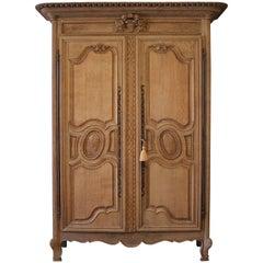 Early 19th Century Raw European Quarter Sawn White Oak Armoire Cabinet