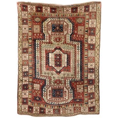 Early 19th Century, Red Field, Ivory, Blue and Green, Caucasian Sevan Kazak Rug