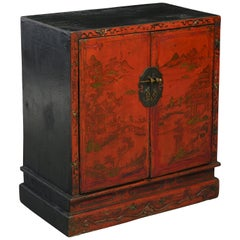 19th Century Red Lacquer Cabinet