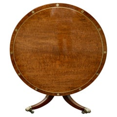 Early 19th Century Regency Anglo Mahogany and Brass Round Center Dining Table