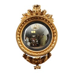 Early 19th Century Regency English Giltwood Bull's Eye Convex Mirror