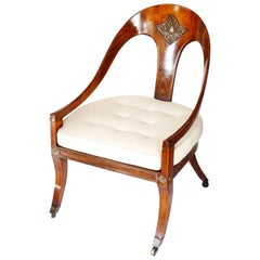 Early 19th Century Regency Faux Rosewood Roman Spoon Chair