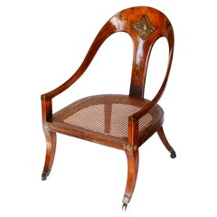 Early 19th Century Regency Faux Rosewood Roman Spoon Chair