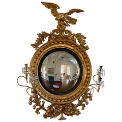 Early 19th Century Regency Giltwood Convex Mirror with Carved Eagle