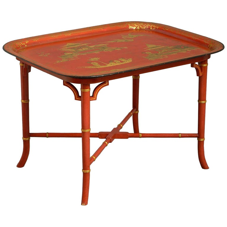 Early 19th Century Regency Japanned Tôle Tray forming a Coffee Table For Sale