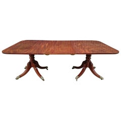 Early 19th Century Regency Mahogany Antique Twin Pedestal Dining Table