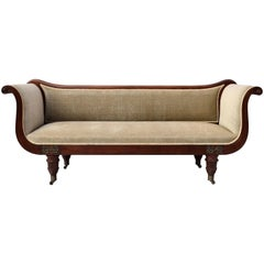 Early 19th Century Regency Mahogany Scroll Arm Sofa of Classical Form