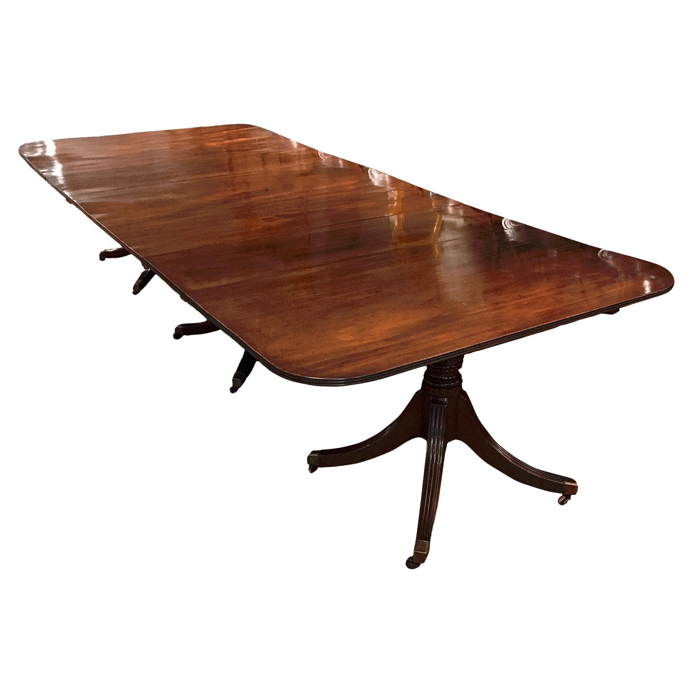 Early 19th Century Regency Mahogany Three Pedestal Dining Table