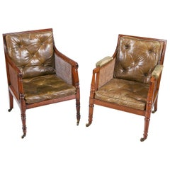 Early 19th Century Regency Matched Pair of Bergere Library Chairs