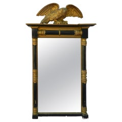 Early 19th Century Regency Mirror Carved Wood Eagle Black Gold English