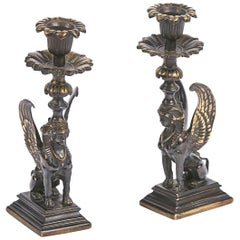 Early 19th Century Regency Pair of Bronze Candlesticks