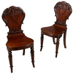 Early 19th Century Regency Pair of Hall Chairs by Gillows of Lancaster & London
