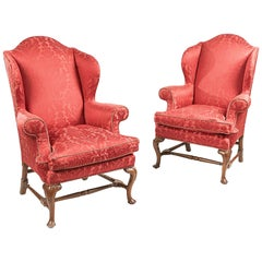 Early 19th Century Regency Pair of Walnut Wing Chairs