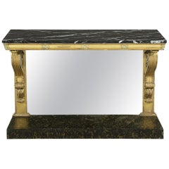 Early 19th Century Regency Period Carved Giltwood Marble Top Console Table