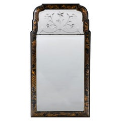 Early 19th Century Regency Period Chinoiserie Mirror with Original Etched Plate