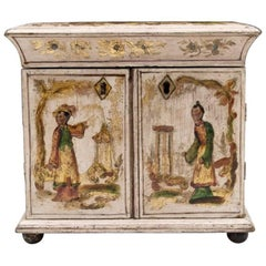 Early 19th Century Regency Period Cream and Gilt Japanned Sewing Cabinet
