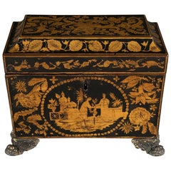 Early 19th Century Regency Period Penwork Tea Chest