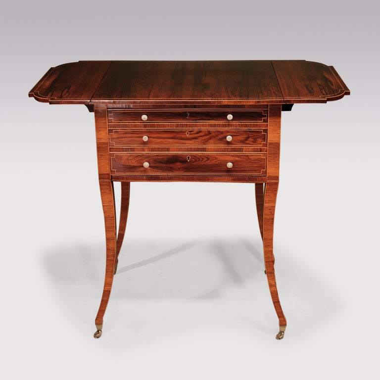 English Early 19th Century Regency Period Rosewood Occasional Table, Boxwood Strung For Sale