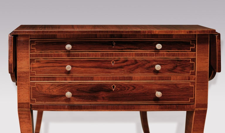 Early 19th Century Regency Period Rosewood Occasional Table, Boxwood Strung In Good Condition For Sale In London, GB