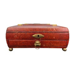 Early 19th Century Regency Red Leather Chinoiserie Sewing Box, Initialed & Dated
