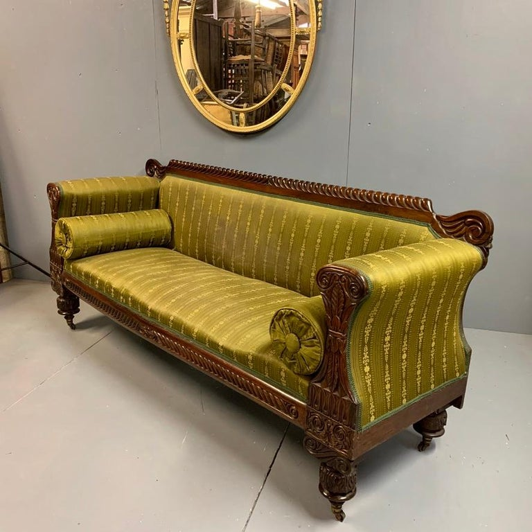 English Early 19th Century Regency Rosewood 3-Seat Sofa For Sale