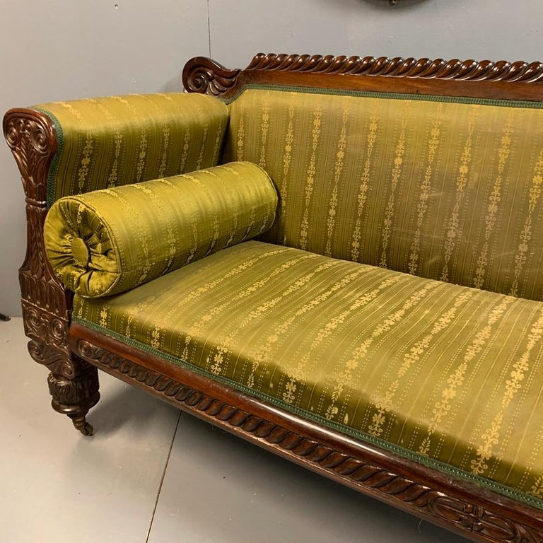 Early 19th Century Regency Rosewood 3-Seat Sofa For Sale 5