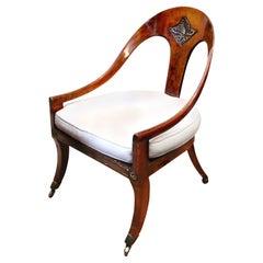 Early 19th Century Regency Rosewood Roman Spoon Chair