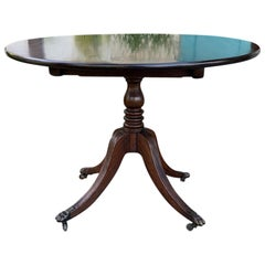 Early 19th Century Regency Style Round Mahogany Tilt-Top Pedestal Table