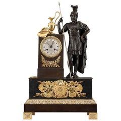 Early 19th Century Restauration Figural Mantel Clock Leonidas in Thermopylae
