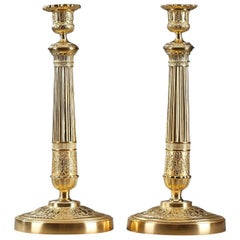 Early 19th Century Restauration Ormolu Candlesticks