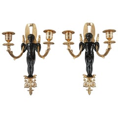 Early 19th Century Restauration Wall Lights in Bronze
