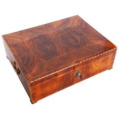 Early 19th Century Restored Biedermeier Jewelry Box, Walnut, Germany, 1830s