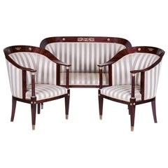 Early 19th Century Restored Empire Mahogany Living Room French Seating Set, 3pcs