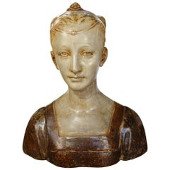 Early 19th Century Romantic Style Painted Dona Bust Stucco, Florence, circa 1820