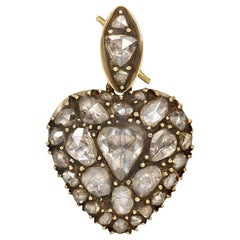 Early 19th Century Rose Diamond Heart Locket Pendant in Silver-Topped Gold