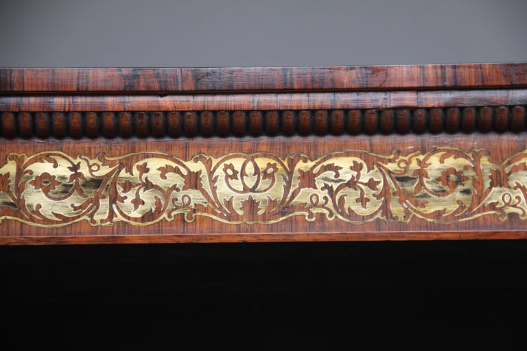 Early 19th Century Rosewood and Brass Inlaid Bookcase For Sale 5