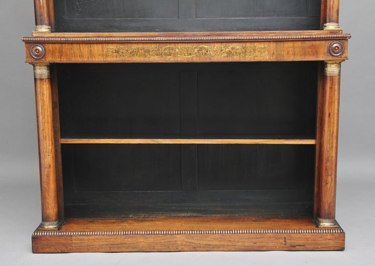 Regency Early 19th Century Rosewood and Brass Inlaid Bookcase For Sale