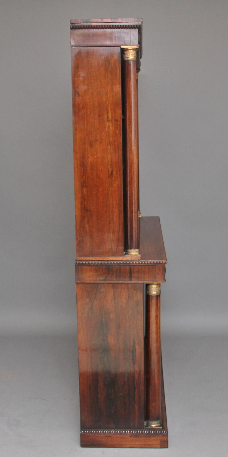 Early 19th Century Rosewood and Brass Inlaid Bookcase In Good Condition For Sale In Martlesham, GB