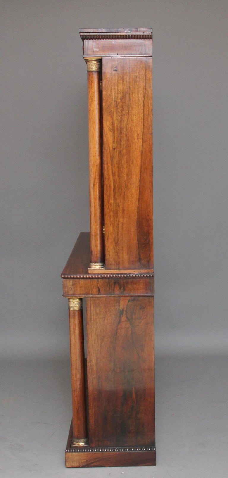 Early 19th Century Rosewood and Brass Inlaid Bookcase For Sale 2
